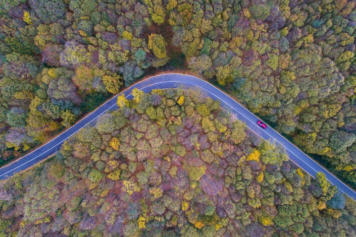 Red Car Road Drone Photography Alex Axon